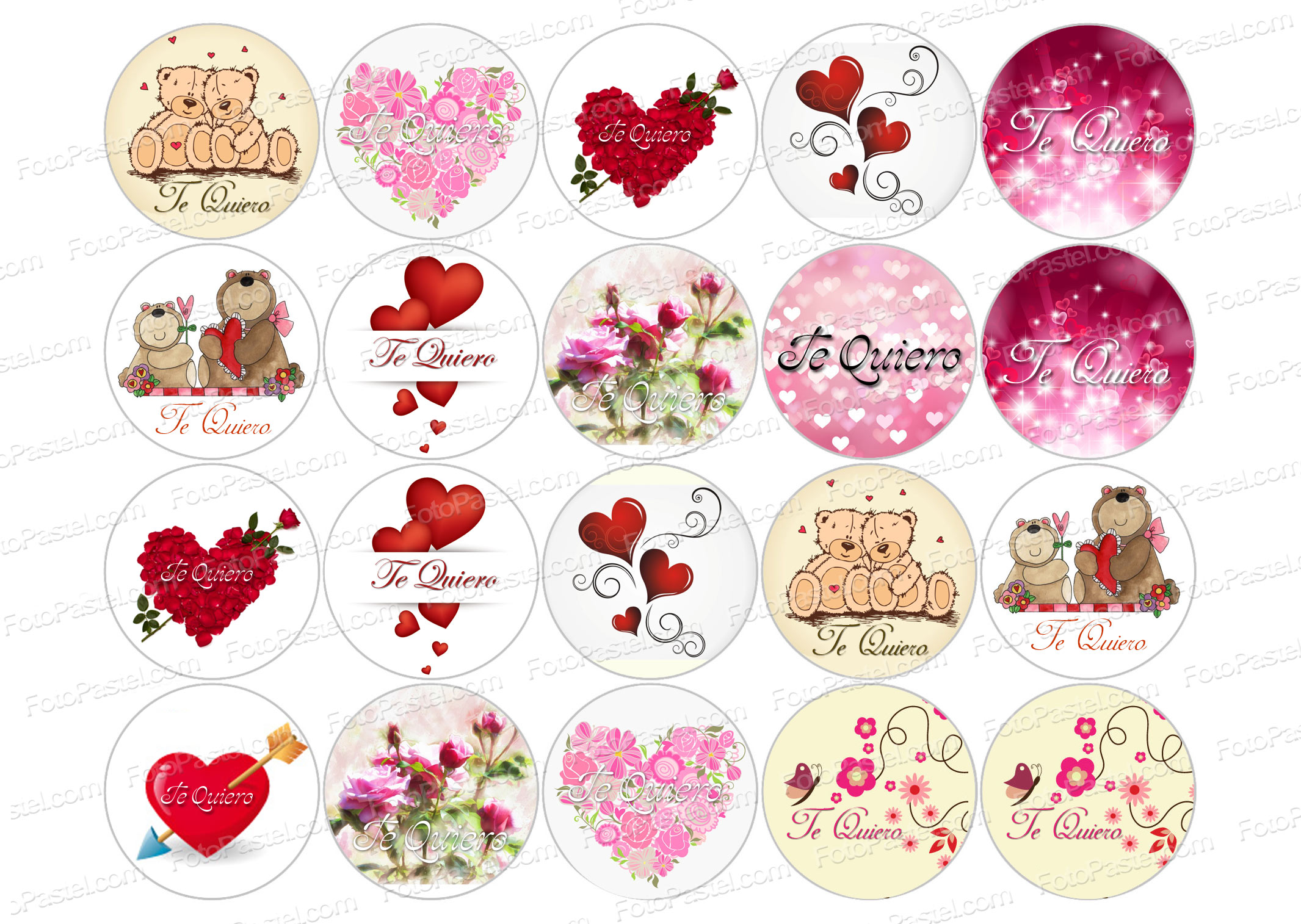 Papel comestible San Valentin 4 - 1 hoja con 20 circulos de 5 cm ...